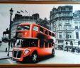 Шелкография Красный автобус размер 50х65 см
