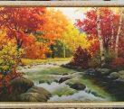 Картина шелкография «Золотая осень» 50х70 см