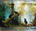 Картина шелкография «Утро в сосновом бору» 100х70 см