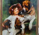 Шелкография «Девочка и щенки»
