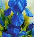Картина Шелкография «Голубой ирис»