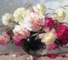 Картина Шелкография «Пионы в стеклянной вазе»